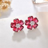 Lovely Petals Stud Earrings Copper Inlaid Zircon Sterling Silver Ear Pin Classic Exquisite Korean-Style Earrings Jewelry Qxwe968