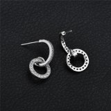 Circle Stud Earrings AAA Zircon Inlaid Korean-Style Cool All-match Sterling Silver Pin Earrings Qxwe1269