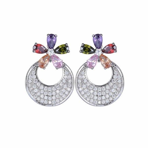 Moon Earrings Fashion Korean Style Flower Stud Earrings New Style Geometric Copper Inlaid Zircon Jewelry Qxwe672