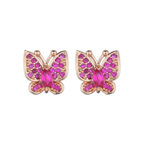 Butterfly Stud Earrings AAA Zircon Micro Pave Earrings  Insect Simple Accessories Qxwe1016
