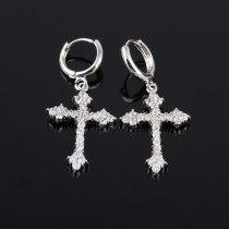 Cross Earrings Inlaid with High Quality Zircon Korean Fashion  Stud Earrings Ear Pendant Qxwe225