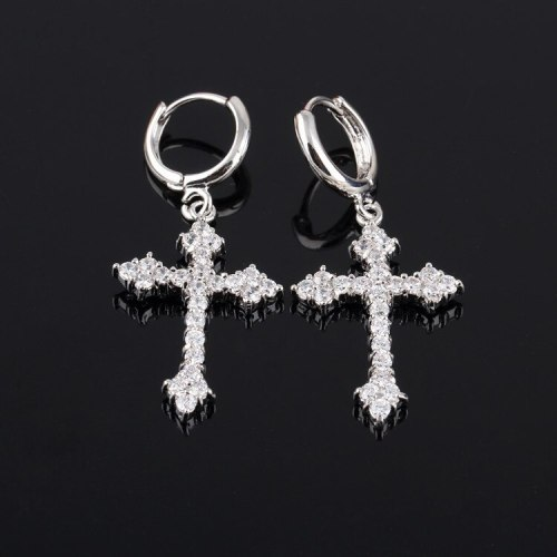 Cross Earrings Inlaid with High Quality Zircon Korean Fashion  Stud Earrings Ear Pendant Qxwe225