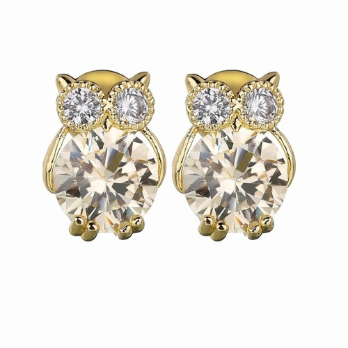 Owl  Stud Earrings High Quality AAA Zircon Copper Inlaid Simple Cartoon Fashion All-match Earrings Jewelry Qxwe801
