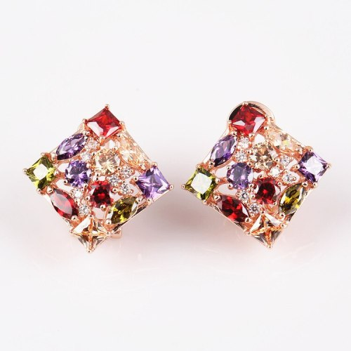 National Style Earrings Seven Color AAA Zircon Ear Clip Rose Gold Plated Ear Rings QxWE721