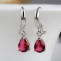Drop-Shaped Zircon Crystal Earrings Four-Claw Round Ear Pendant Simple and Versatile Foreign Trade  Stud Earrings Qxwe733