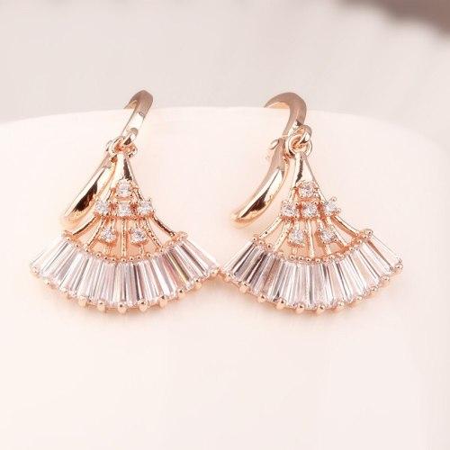 Fan-Shaped Zircon Earrings Copper Inlaid Korean Fashion Ear Stud Rose Gold Ear Stud Earrings Qxwe908