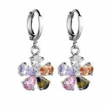 Flower Earrings Ear Clip Copper Inlaid High Quality Zircon  Stud Earrings Jewelry Qxwe160