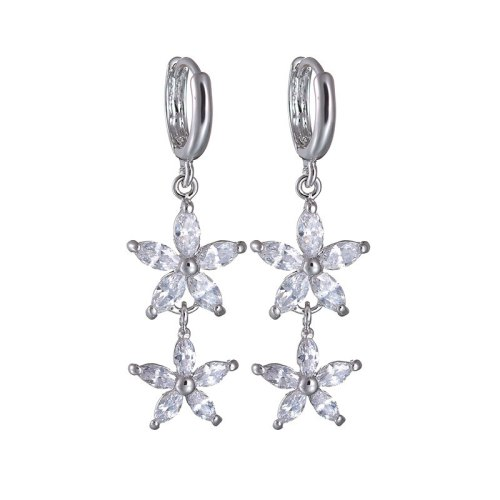 National Style Long Earrings Copper Inlaid AAA Crystal Zircon Eearrings Plated Platinum Jewelry Qxwe410