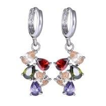 Colorful Fashion Earrings Ear Clip Copper Inlaid Colorful AAA Zircon Stud Earrings Jewelry Qxwe525