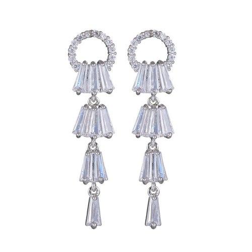 925 Sterling Silver Pin Long Tassel Ring Stud Earrings AAA Zircon Ear Stud Cool Temperament Earrings Qxwe863