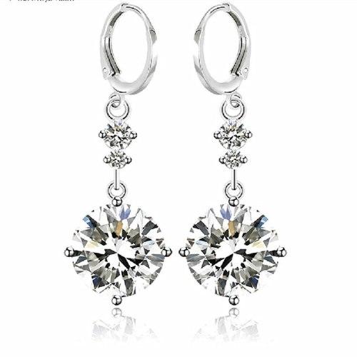Exquisite Earrings Copper Inlaid AAA Zircon Elegant Fashion Ear Pendant Ear Stud Qxwe390