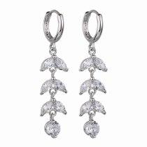 AAA Zircon Inlaid Earrings Ear Clip Leaves Ear Pendant Gift for Women Qxwe414