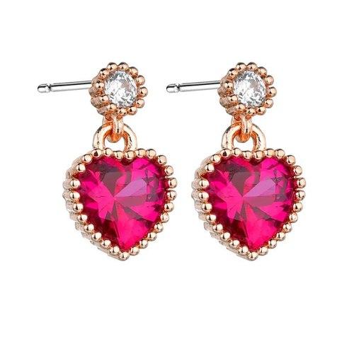 Lovely Earrings S92 5 Sterling Silver Pin Korean Style Pink Ear Stud Earrings Red Earrings Jewelry Qxwe1193