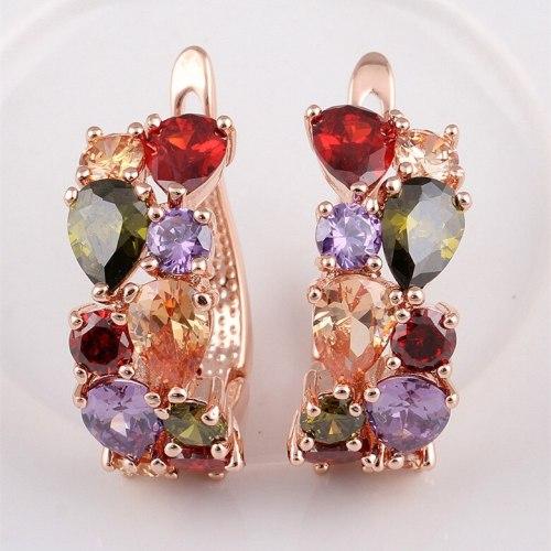 Colorful Earrings Clip AAA Zircon Inlaid Ear Stud Earrings Rose Gold Plated Earrings Qxwe559