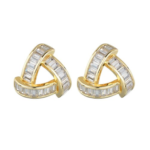 Geometric Large Stud Earrings 18K Gold Plated AAA Zircon Inlaid Earrings S925 Sterling Silver Ear Pin Fashion Jewelry Qxwe1503