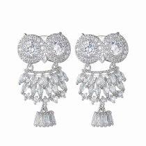 Owl Stud Earrings AAA Zircon Inlaid Korean Fashion Earrings 925 Sterling Silver Ear Pin Qxwe1431