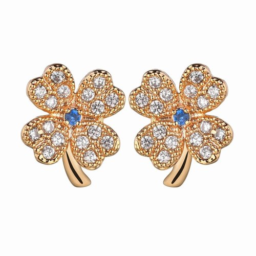 Korean Version of The Clover of Four Leaves Stud Earrings Leaves Ear Stud Zircon Inlay S925 Silver Needle Earrings QxWE665