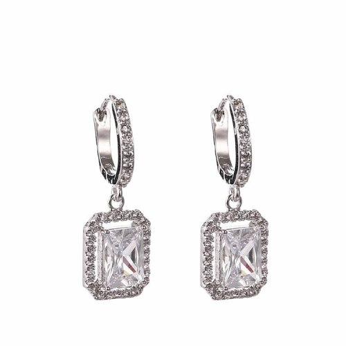 Zircon Earrings Copper Inlaid AAA Zircon Earrings Shiny Rectangular  Stud Earrings Ear Clip Wholesale Qxwe879