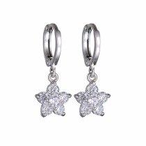 Elegant Simple Zircon Earrings Korean-Style Crystal Ear Pendant Girl's Vintage Ornament Fashion Flower Ear Stud Qxwe872