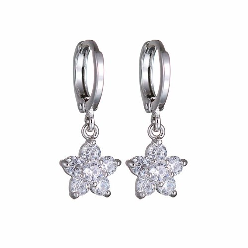 Elegant Simple Zircon Earrings Korean-Style Crystal Ear Pendant Girl's Vintage Ornament Fashion Flower Ear Stud Qxwe872