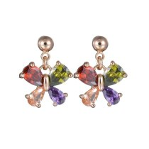 S925 Silver Needle Butterfly Zircon Earrings Natural Animal Exquisite Simple Quality Stud Earrings Qxwe865