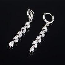 Zircon Leaf Earrings High Quality AAA Zircon Inlaid Tassel Earrings Korean-Style Female Ear Stud Qxwe741