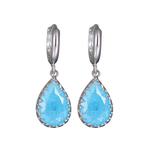 Ice Flower AAA Zircon Sea Blue Drop Earrings Simple Atmosphere Plated 18K White Gold Earrings Jewelry Qxwe042