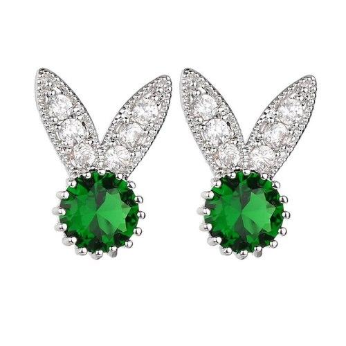 South Korea Creative Rabbit Micro Pave Stud Earrings AAA Zircon Ear Stud Cute Female Earrings  Wholesale Qxwe966