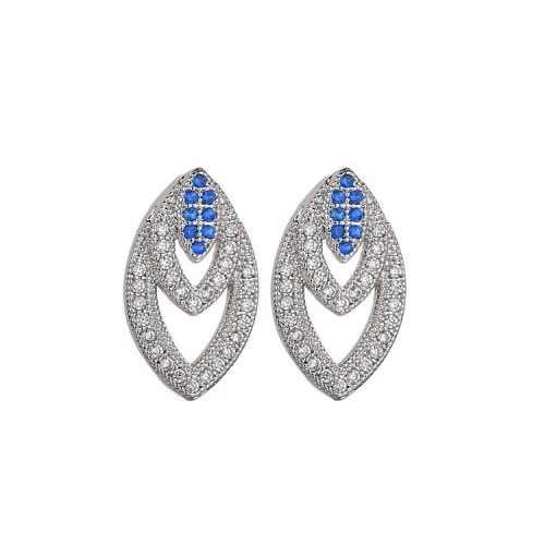 Blue Gemstone Stud Earrings Copper Micro Pave AAA Zircon Fashion Earrings Plated Platinum Qxwe1101