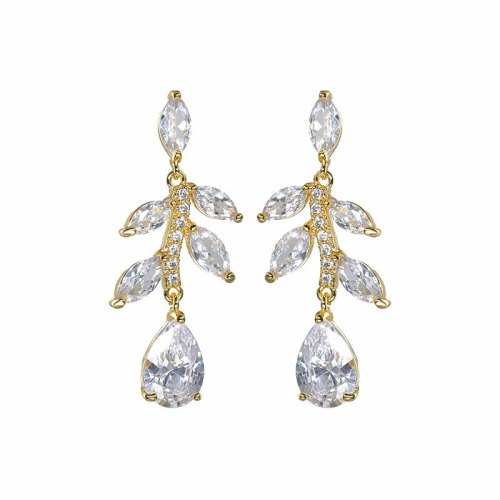 Zircon Earrings High-End Ear Stud Earrings European and American Bridal Earrings Fashion Earrings Qxwe1400