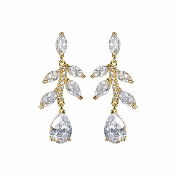 Zircon Earrings High-End Ear Stud Earrings European and American Bridal Earrings Fashion Earrings Qxwe1400