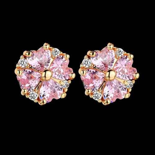 Four-Leaf Lovely Stud Earrings S925 Sterling Silver Needle Korean Fashion Simple Lovely Pink Zircon Earrings  Wholesale Qxwe1178