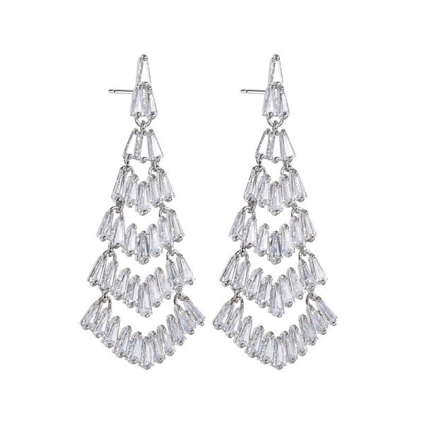 AAA Zircon Inlaid Gorgeous Earrings Christmas Tree Earrings European and American High-End Ear Pendant Wedding Dinner Qxwe1386