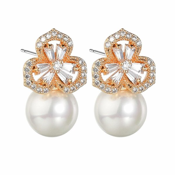 Flower In Water Stud Earrings Zircon Korean Fashion 925 Needles Pearl Ear Stud Earrings QxWE1368