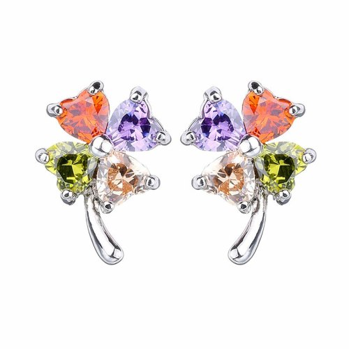 Leaf Stud Earrings AAA Lovely Zircon Inlaid Ear Stud Fashion Gold-Plated Earrings Ear Stud Earrings Qxwe432
