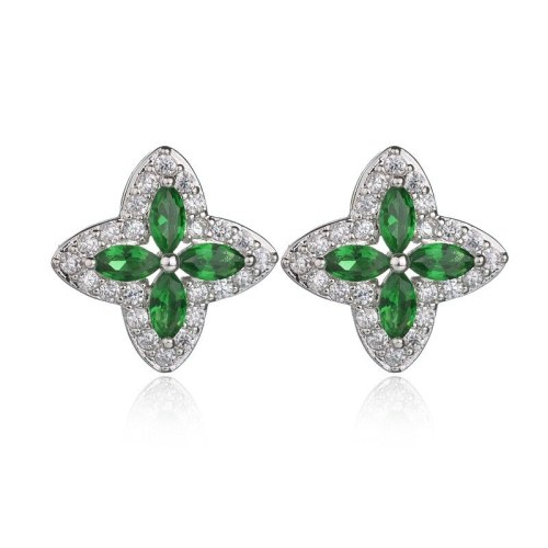 Green Leaf Crystal Inlaid Stud Earrings AAA Zircon Earrings  Fashion Jewelry Qxwe756