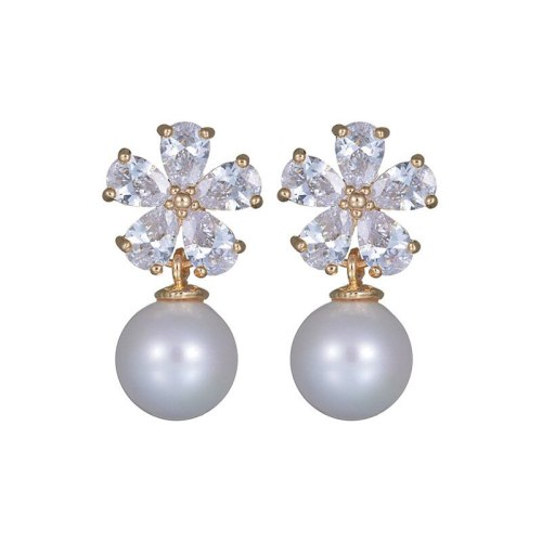 Korean Small Fragrant Flower Earrings Pearl Sterling Silver Ear Pin Elegant All-match Inlaid Zircon Earrings Wholesale Qxwe1095