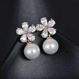 Korean Small Fragrant Flower Earrings Pearl Sterling Silver Ear Pin Elegant All-match Inlaid Zircon Earrings Wholesale Qxwe1095
