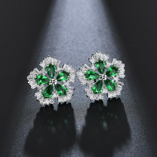 Floral Colorful AAA Zircon Inlaid Stud Earrings Korean-Style High-End Earrings  Jewelry Wholesale Qxwe1118
