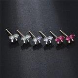 Simple Mini Bow Stud Earrings AAA Gemstone Inlaid 925 Sterling Silver Ear Pin All-match Student Earrings  Qxwe837
