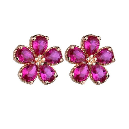 Zircon Flower Stud Earrings Korean Fashion Earrings 925 Sterling Silver Pin Qxwe838
