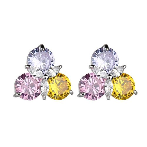 Copper Inlaid AAA Zircon Mixed Color Stud Earrings Korean-Style Elegant All-match Ear Stud Plated Platinum Qxwe237