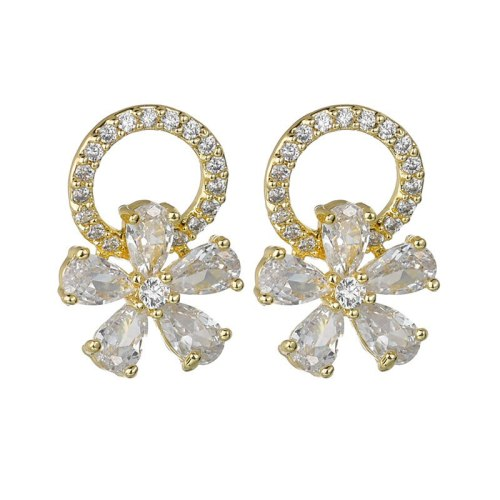 S925 Silver Needle Stud Earrings AAA Zircon Inlaid Exquisite Korean-Style Ornament Earrings  Qxwe904