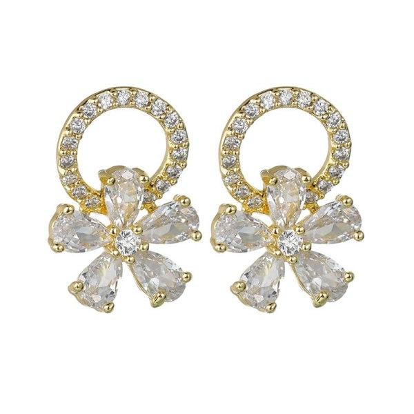 S925 Silver Needle Stud Earrings AAA Zircon Inlaid Exquisite Korean-Style Ornament Earrings  Qxwe904