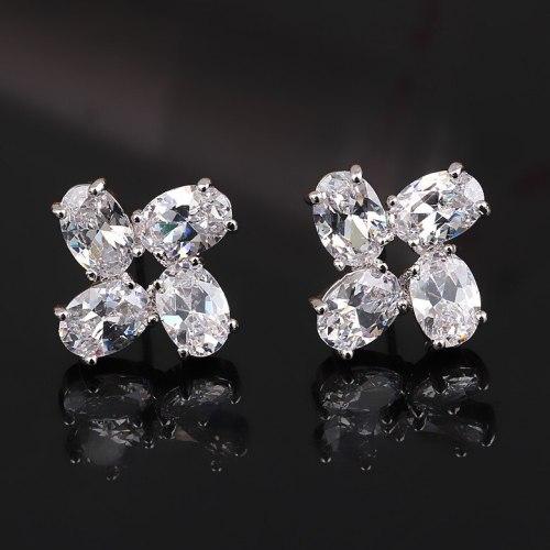 Clover of Four Leaves Stud Earrings Copper Inlaid AAA Zircon Crystal Ear Stud Earrings Qxwe604