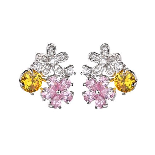 Girl's Heart Earrins Shiny Pink AAA Zircon Inlaid Korean-Style Exquisite Fashion Ear Stud Gift Female Qxwe1212