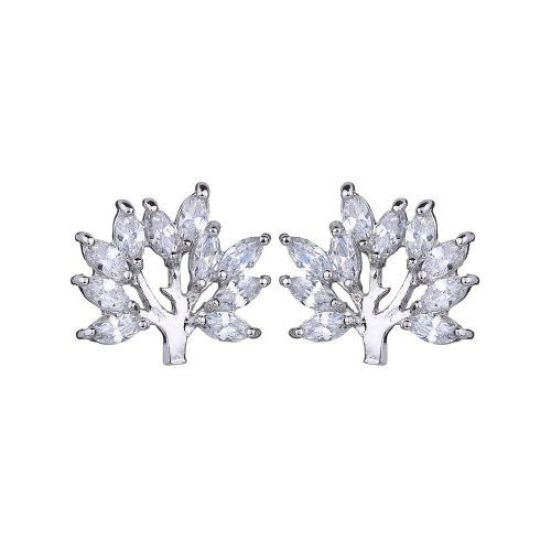Lucky Tree AAA Crystal Zircon Earrings Korean Fashion Ear Stud Earrings Simple Plant Earrings Qxwe1055