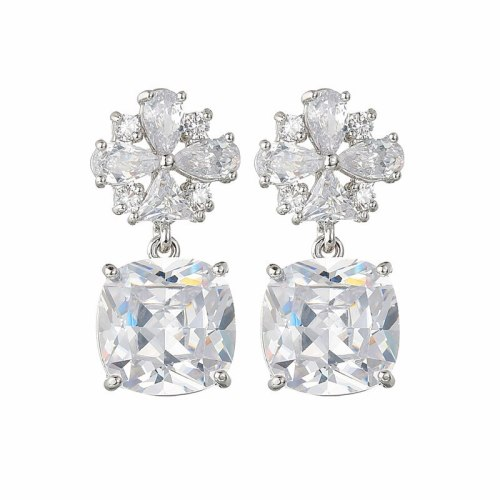 S925 Sterling Silver Pin Korean-Style Earrings AAA Zircon Inlaid Flower Ear Stud Earrings Exquisite Earrings Jewelry Qxwe1445