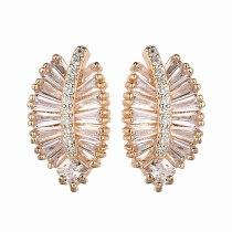 Korean-Style Stud Earrings Champagne Gold Leaf Earrings AAA Zircon Inlaid 925 Sterling Silver Ear Pin Qxwe1220
