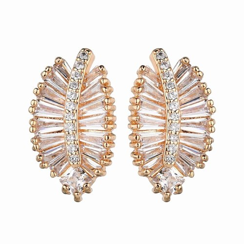 Korean-Style Stud Earrings Champagne Gold Leaf Earrings AAA Zircon Inlaid 925 Sterling Silver Ear Pin Qxwe1220